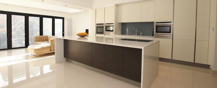 Open plan handleless kitchen