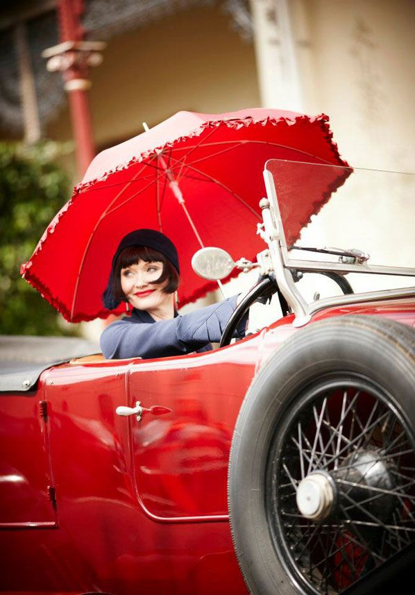 Essie Davis as Phryne Fisher on the Australian series, Miss Fisher's Murder Mysteries