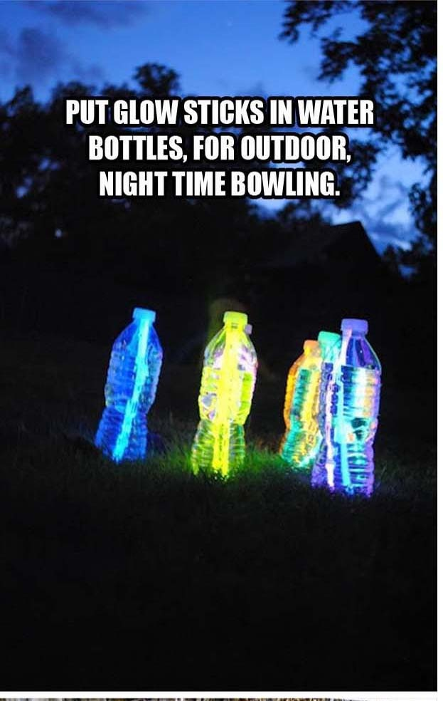 put glow sticks in water bottles for night bowling perfect for the kids