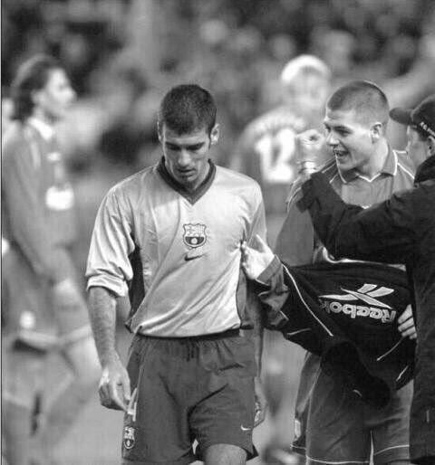 A young Steven Gerrard asking Pep Guardiola to shake his hand after beating Barcelona 1-0 back in 2001