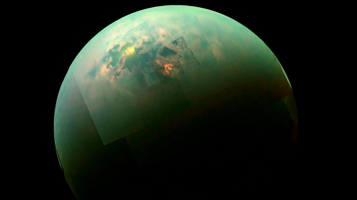 As it soared past Saturn's large moon Titan recently, NASA's Cassini spacecraft caught a glimpse of bright sunlight reflecting off hydrocarbon seas.