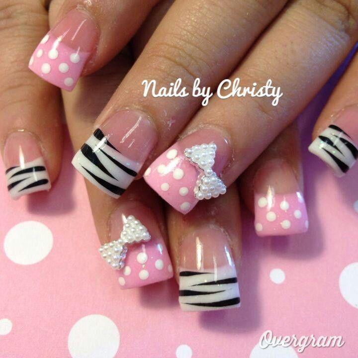 Zebra Stripe& Polka Dot Nails