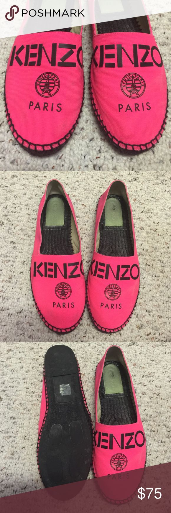 Kenzo Paris hot pink espadrilles flat 41 size 9 I bought this from a trip to Paris, wore it few times, it's a bit dirty but not too much, I paid $175 for it . It's size 41, but I usually wear size 9-9.5 and it fits perfect. Kenzo Shoes Espadrilles