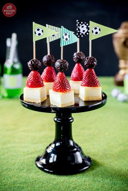 Fußball Party Käse-Kuchen Spieße