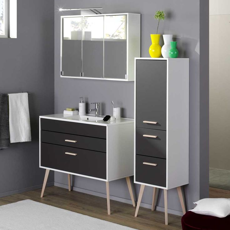 Badmöbel Set im Retro Look Weiß Anthrazit (3-teilig) Jetzt - badezimmermöbel weiß landhaus