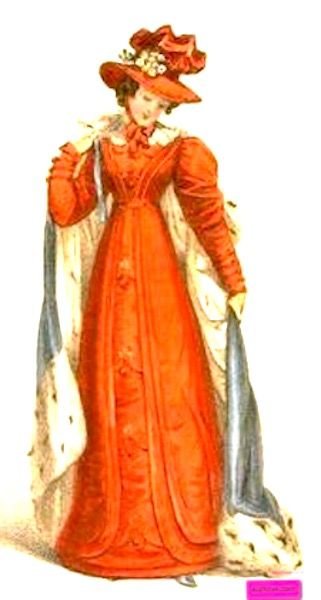 1825    Promenade Dress, English.    High waisted dress, long sleeves, high decorated hat, and carrying a long fur trimmed cape.                                         Engraved Plate via Rudolph Ackermann's 'The Repository' of Arts. via Google Books (PD-150)  suzilove.com