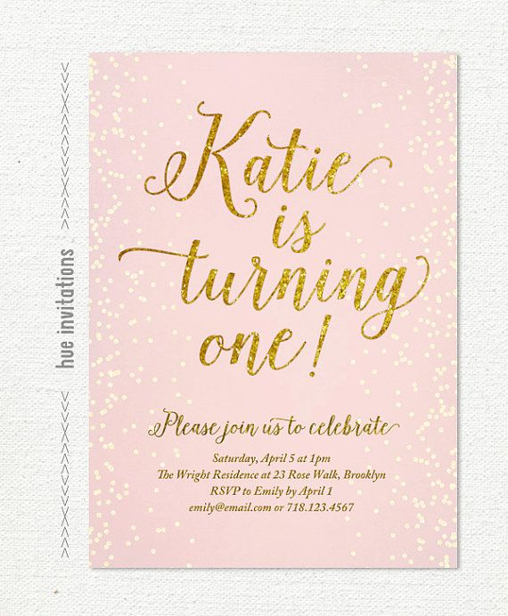 Best Glitter First Birthday Ideas On Pinterest Girl First - Digital first birthday invitation