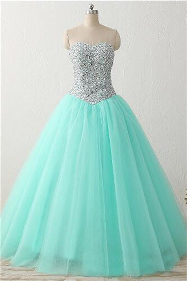 Ball Gown Sweetheart Corset Mint Green Tulle Beaded Sparkly Prom Dress