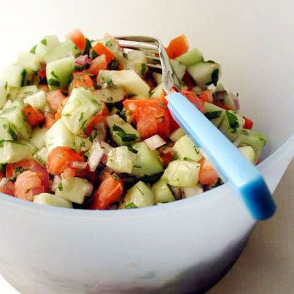 Cucumber salad, Tomatoes and Salads on Pinterest