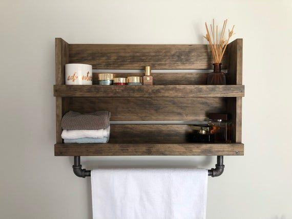 Bathroom Shelf With Pipe Towel Bar Rustic Shelf With Towel | Etsy   – Blackironworks