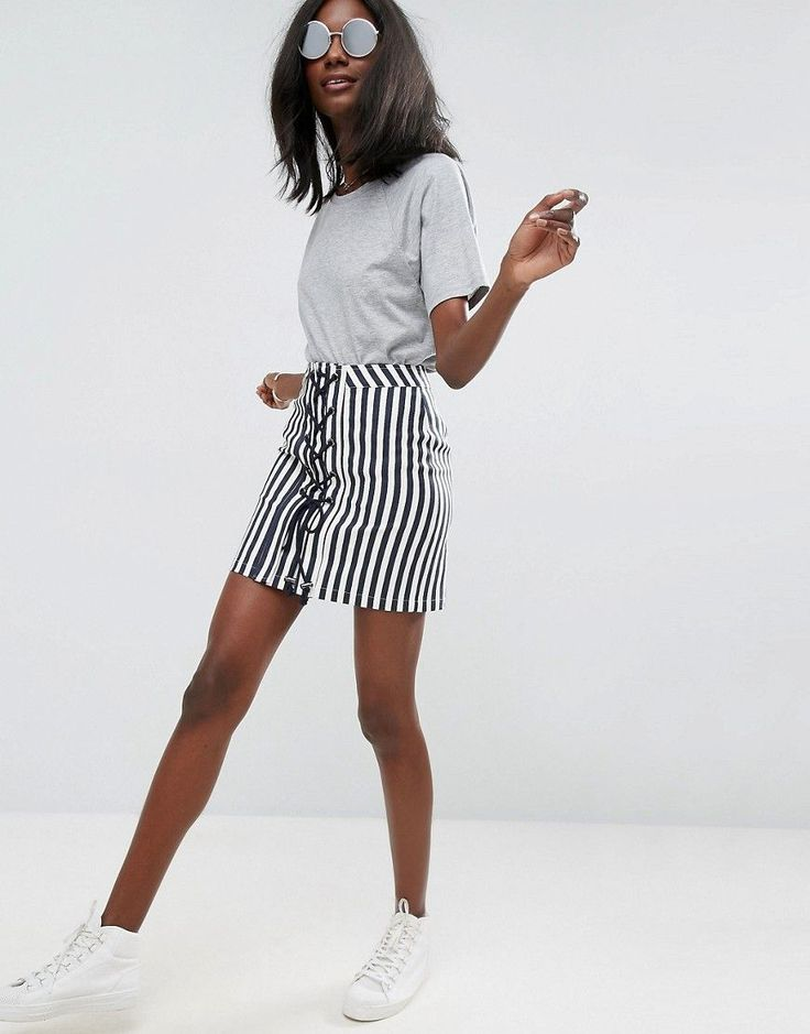 ASOS Lace Up Mini Skirt in Stripe - Multi