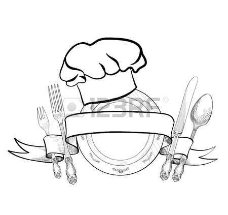 Chef cuoco cappello con forchetta cucchiaio coltello e piatto disegno  etichetta schizzo a mano icona Archivio Fotografico e7113631d7cd