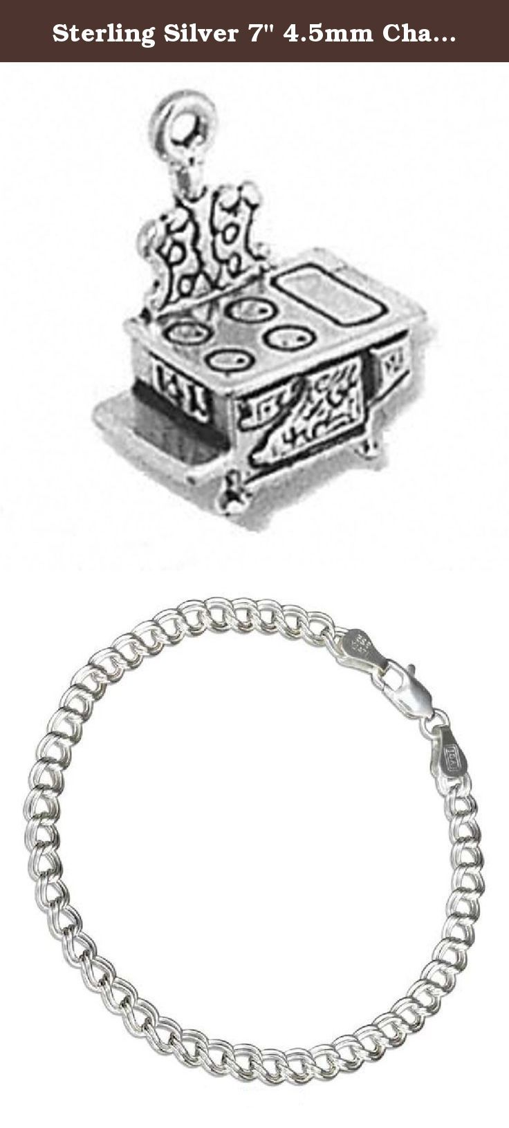 "Sterling Silver 7"" 4.5mm Charm Bracelet With Attached 3D Kitchen Cooks Small Old Vintage Cast Iron Stove Cooking Charm. Sterling Silver 7"" 4.5mm Italian Made Charm Bracelet With Attached 3D Small Old Vintage Cast Iron Stove Charm. Great Charm For Antique Collectors Or Someone Wood Burning Stove. Material: .925 Sterling Silver Dimensions: Fully 3D Charm Height: 4/8"" Length: 4/8"" Width (Thickness): 3/8"" Units Sold By: Single SKU#: A37854T-BR452 Charm Made In: United States All Measurements…"