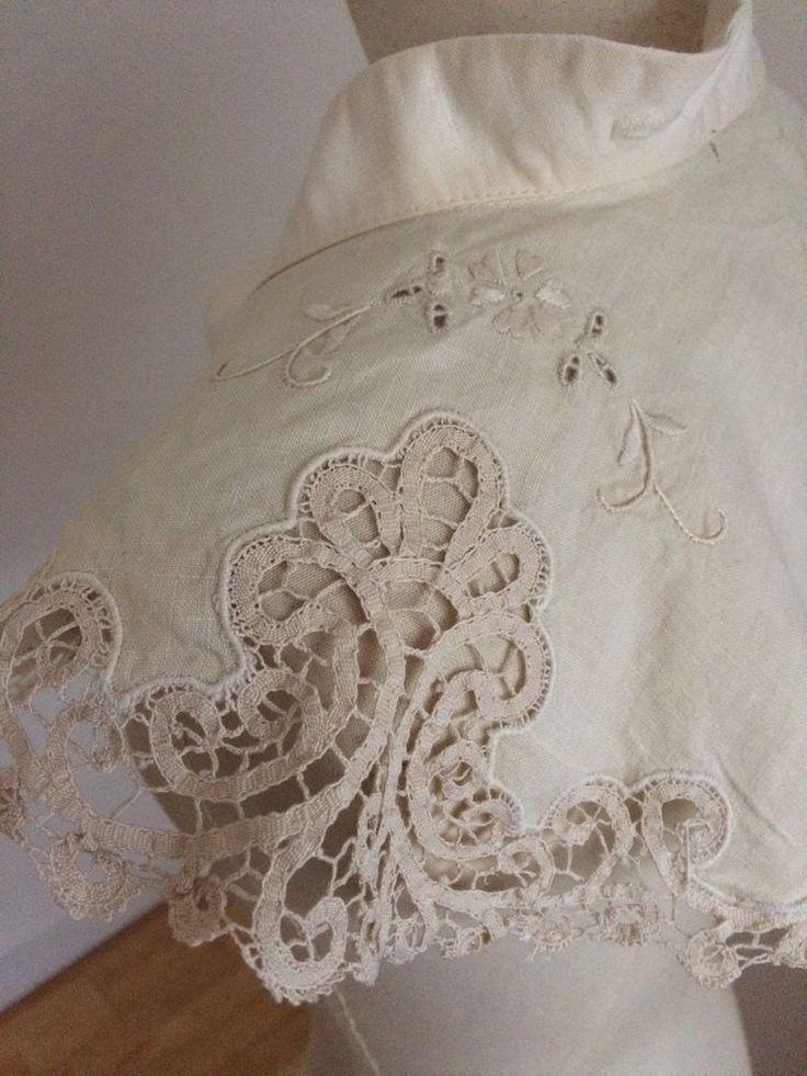 Beautiful Victorian Flounced Collar Bertha Brussels Lace Linen Pristine C1840s | eBay