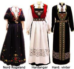 Female bunad (Norwegian folk costume) from the regions of Rogaland and Hardanger in Norway. The center outfit is worn in Hardanger in the summer, the right outfit is worn in Hardanger in the winter. Women -- Clothing & dress -- Norway.