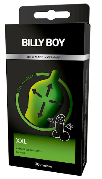 BILLY BOY Extra Large condoms are longer and wider than conventional condoms and perfect for the larger man and his lucky partner!