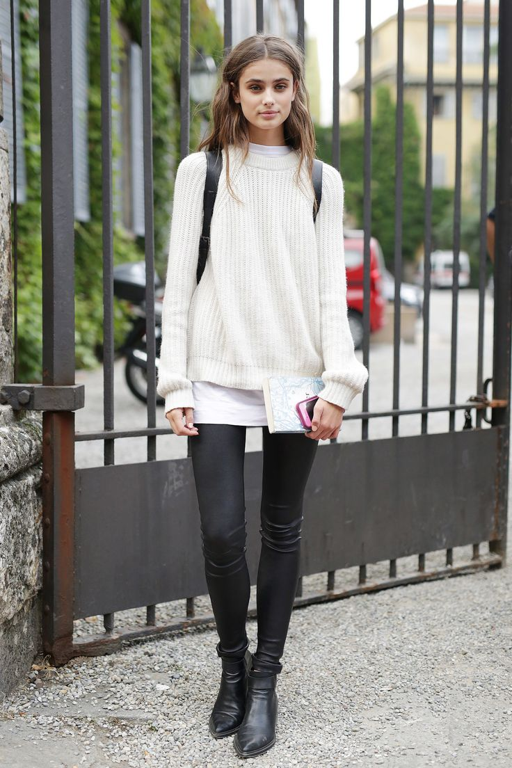 Milan Fashion Week: A plain white tee chicly divided a neutral sweater and leather skinnies.