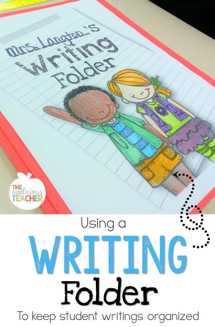 Using a  writing folder to keep student writings organized. Includes a free template to help get started!