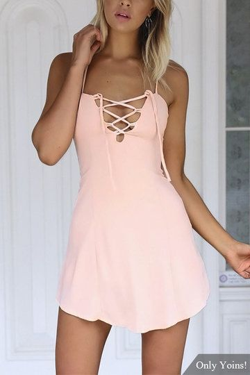 Criss-Cross Hollow Front & Backless Mini Dress in Pink US$17.95