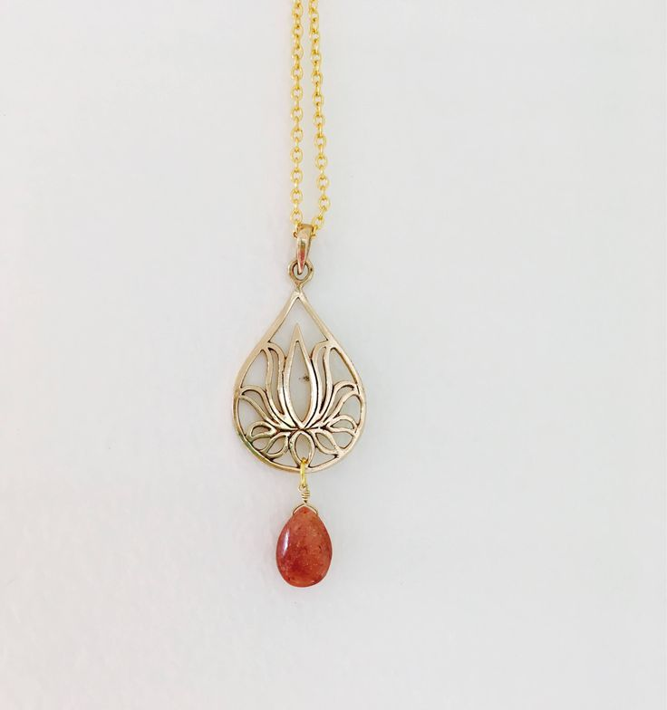 Sunstone Lotus Necklace Gold vermeil Lotus necklace Gemstone lotus necklace Yoga jewelry Yoga jewellery by VeronicaBCreations on Etsy https://www.etsy.com/au/listing/555906502/sunstone-lotus-necklace-gold-vermeil