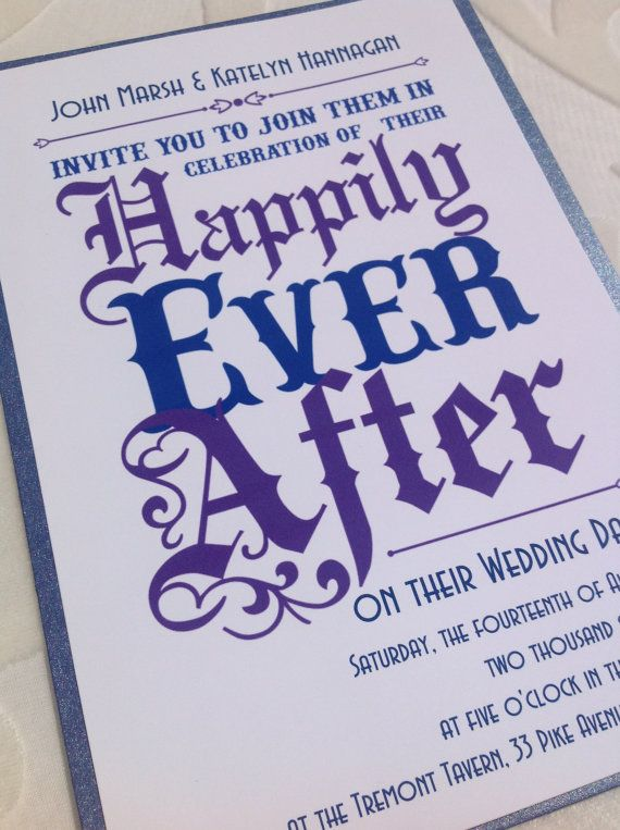 Wedding Invitation - Fairy Tale Wedding and a Happily Ever After Invitation in Royal Purple and Regal Blue