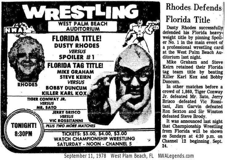 The Spoiler v. Dusty Rhodes for the Florida Title Pro
