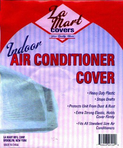 Indoor Air Conditioner Cover -Plastic-  Indoor Air Conditioner Cover -Plastic- indoor air condition cover.  One size fits all. Heavy duty plastic .  Stops drafts.  Protects unit from rust and dust. Extra strong elastic holds cover firmly.  http://www.airconditionercenter.com/indoor-air-conditioner-cover-plastic/