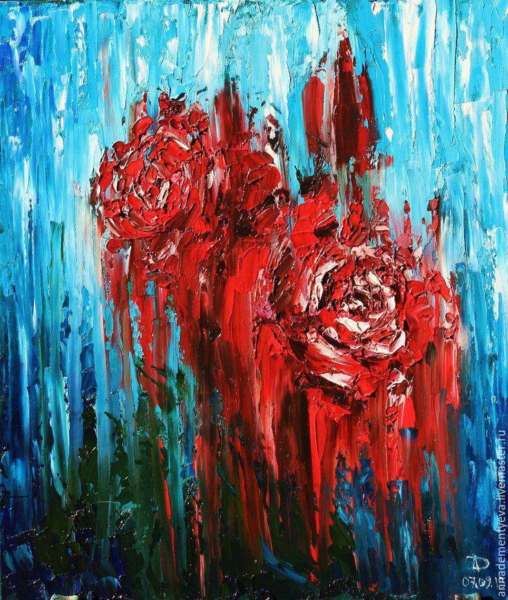 """Купить картина """"Розы"""" - ярко-красный, розы, цветы, картина для интерьера, живопись в подарок, подарок"""