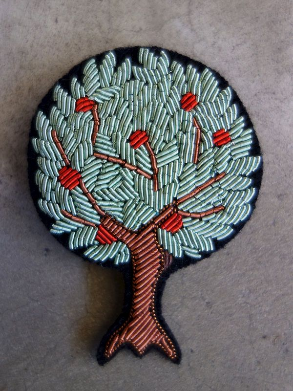 Hand embroidered apple tree brooch By Macon & Lesquoy.
