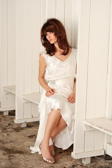 Model wearing Silk dress, Bridal Fashion on Location. Photographed by Kent Johnson.