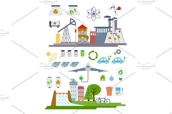 Green City Infographic set elements. Vector illustration with eco Icons. Environment, Ecology Infographic elements. Ecosystem background, banner, diag…