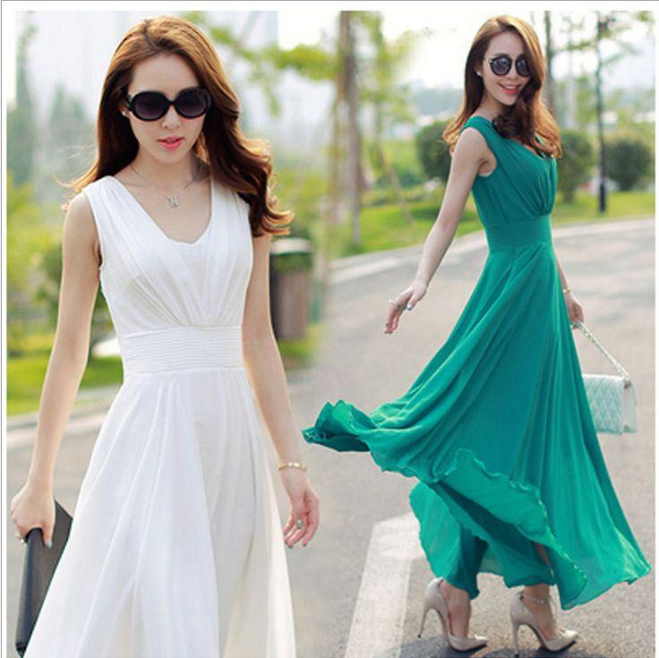 Korean Women Boho Chiffon A Line Long Maxi Summer Beach Party Dress Sz