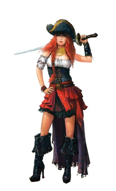 Female Rogue Pirate - Pathfinder PFRPG DND D&D d20 fantasy