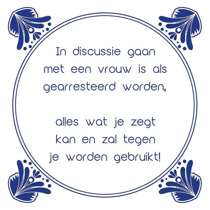 Tegeltjeswijsheid.nl - een uniek presentje - In discussie gaan met een vrouw