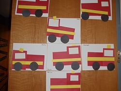 From Mrs. J. pre-k room. The children used precut geometric shapes to make a fire truck.