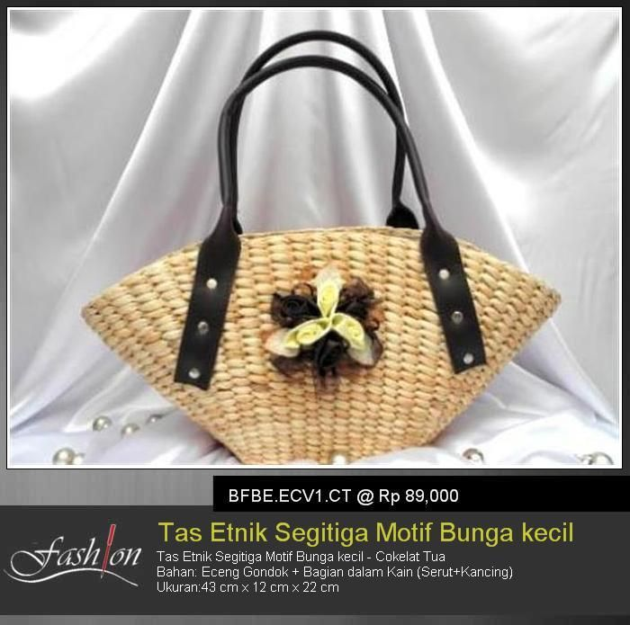 Triangle Ethnic Bag With Little Flower Theme - Dark Brown