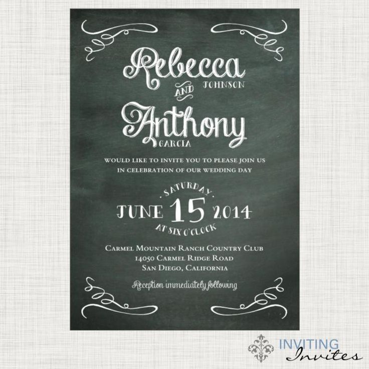 Chalkboard Wedding Invitation Printable Digital 4686