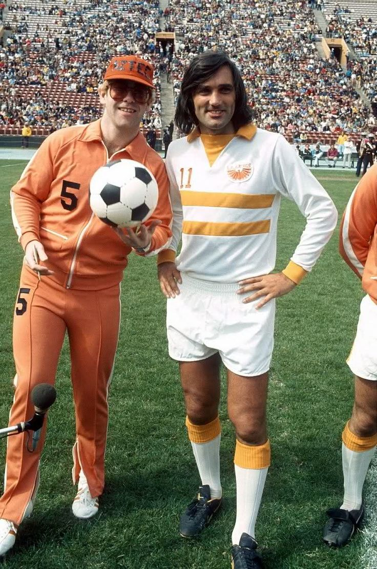 George Best, playing for the Los Angeles Aztecs, was one of several fading stars brought out from Europe to give the North American Soccer League some cache during the 1970s. Best is pictured here with Aztecs part owner, Elton John.