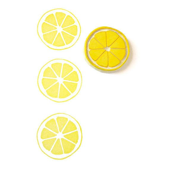 Lemon Citrus Circle Stamp - Rubber Stamp - Cling Rubber Stamp on Etsy, $10.10 AUD: