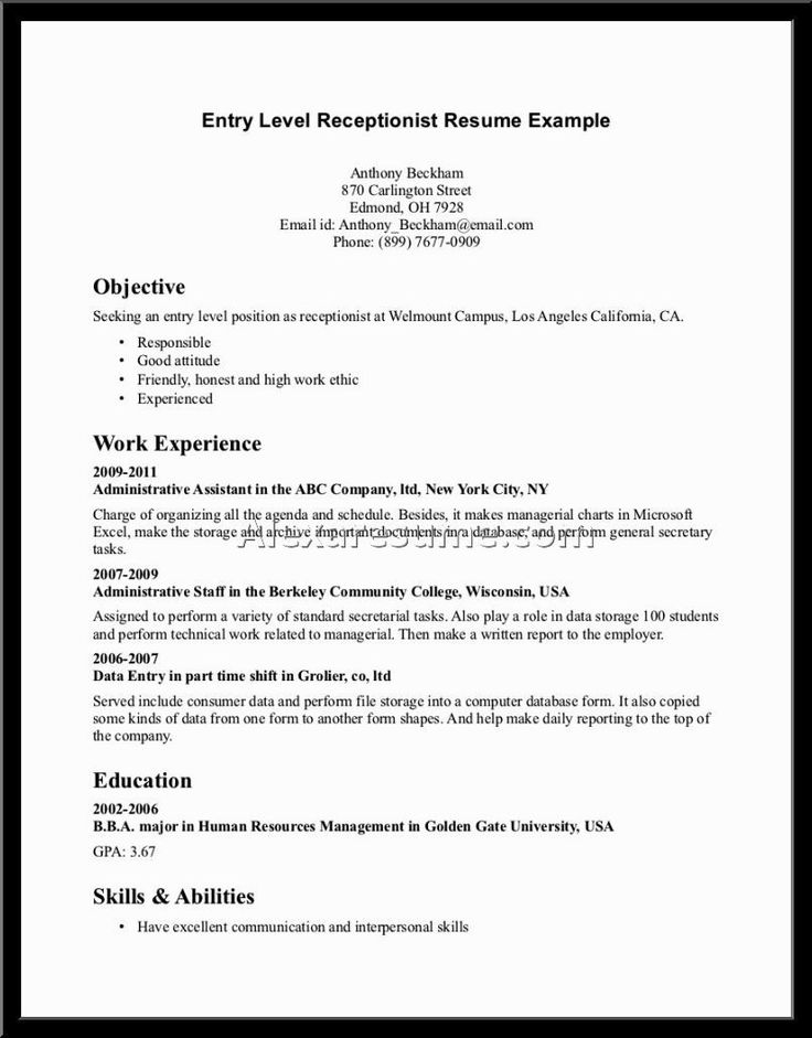 14 best Sample Resumes images on Pinterest Sample resume, Cover - receptionist resume objective