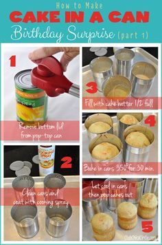 Make a cool DIY cake in a can for someone special's birthday party - the perfect, fun surprise for kids. :)