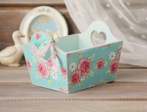 Shabby Chic Wood Basket Wedding Basket Cottage by NostalgieDecor