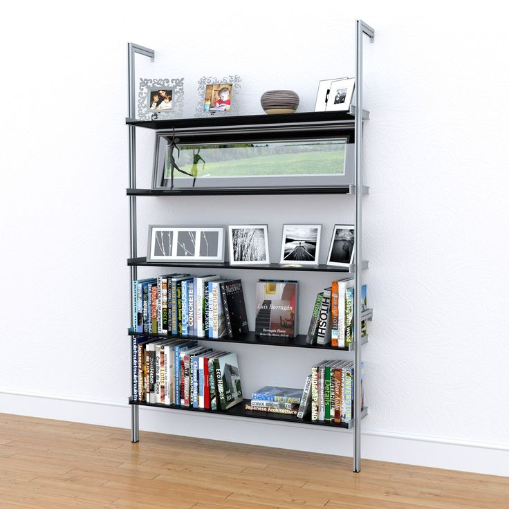 "50"" Wide Pole Mounted Aluminum ShelvingSatin Anodized Aluminum Poles with choice of anodized or powder coated adjustable aluminum shelves. Single unit mounts with four screws to any wall. Add more units to fill an entire wall.The PAL50 design is strong enough to hold books even with a 48"