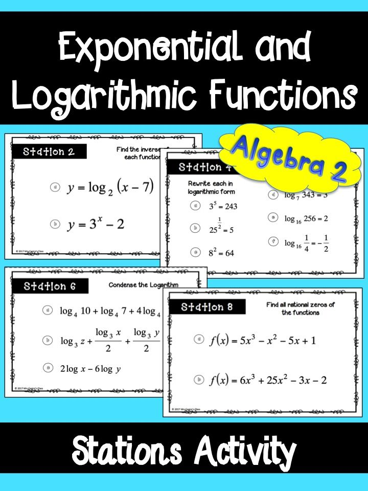 Exponential and Logarithmic Functions Stations Activity for Algebra 2