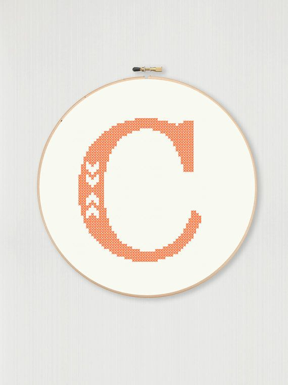 Cross stitch letter C pattern with chevron by LittleHouseBliss