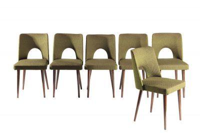 krzesło, 1960-te, Słupski Ośrodek Przemysłu Meblarskiego, drewno, tkanina, 80 x 42 x 45 cm, wys. siedziska: 45 cm