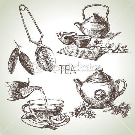 Tea. készlet — Stock Illusztráció #42063575