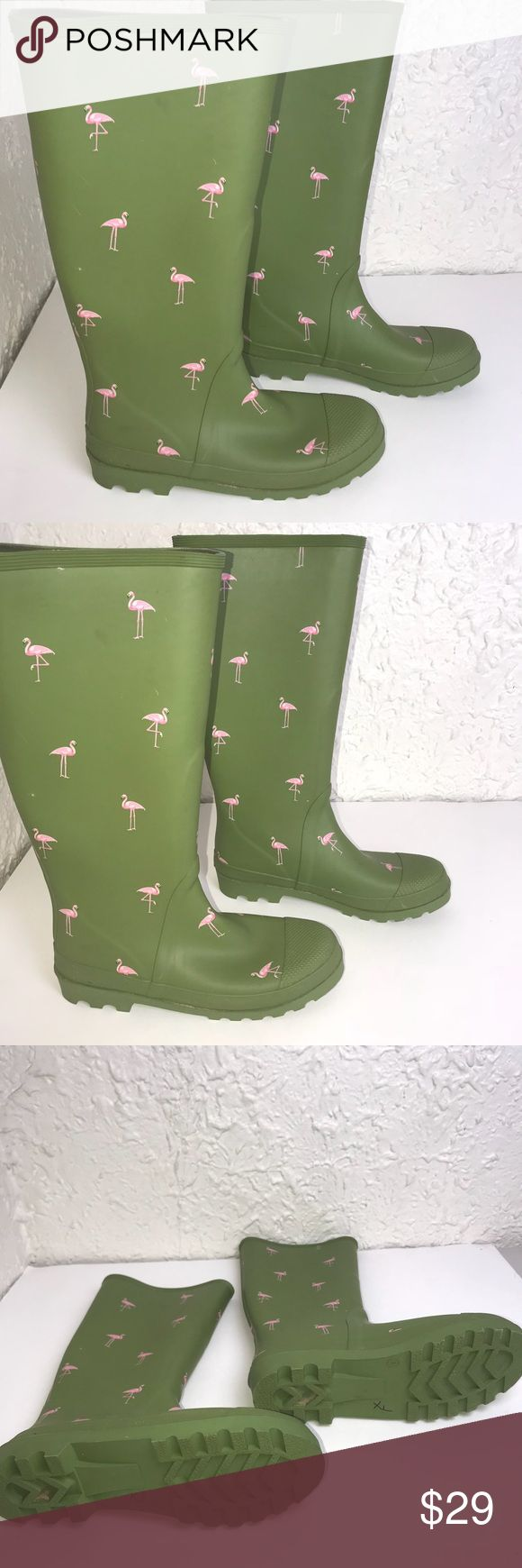 Green J. Crew size 8 Rain boots Novelty Flamingo Yaaaaaas! These are adorable! Let those classmates and colleagues Hate on you! You know they are gonna be jealous because you are so dang gone cute in these Pink Flamingo J Crew Rubber Boots. Just looking, they look perfect. Upon close inspection you will be slight scratches and 1 set of black marking. If anyone is that close to see them they need to be paying some of your bills. OKAaaaaaaY! Make me an offer! J. Crew Shoes Winter & Rain Boots