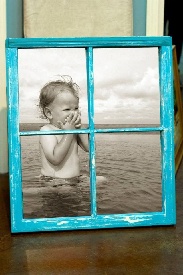 Old window with large picture... LOVE one large picture!  Can print B&W for less than $5 at architect/drafting quality.  Easy trash to treasure, and CHEAP!