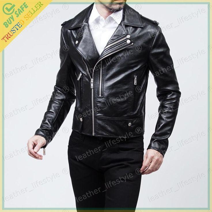 Men's Genuine Lambskin Leather Motorcycle Jacket Biker Jacket Designer fit MJ14 #LeatherLifestyle #Motorcycle #PerfectforMotorcycleandWinter
